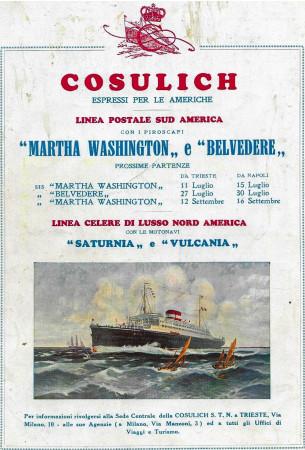 """1929 * Publicité Original """"Cosulich - Martha Washington e Belvedere"""" dans Passepartout"""