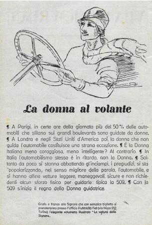 """1928 * Publicité Original """"La Donna Al Volante"""" dans Passepartout"""