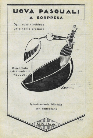 """1928 * Publicité Original """"Unica - Uova Pasquali A Sorpresa"""" dans Passepartout"""