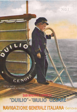 "1930 * Publicité Original ""Navigazione Generale Italiana - Bimbi A Bordo - STUDIO TESLA"" dans Passepartout"