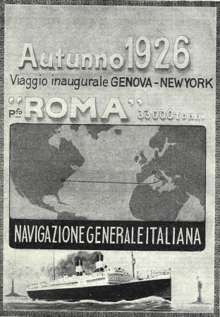"""1926 * Publicité Original """"Navigazione Generale Italiana - Viaggio Inaugurale Genova - New York"""" dans Passepartout"""