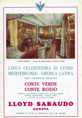 "1929 * Publicité Original ""Lloyd Sabaudo - Conte Rosso, Camera di Lusso"" dans Passepartout"