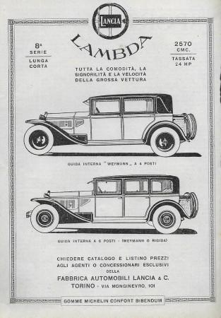 """1929 * Publicité Original """"Lancia - Lambda 8° Serie - Stemma"""" dans Passepartout"""
