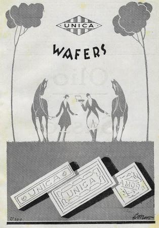 """1928 * Publicité Original """"Unica - Wafers"""" dans Passepartout"""