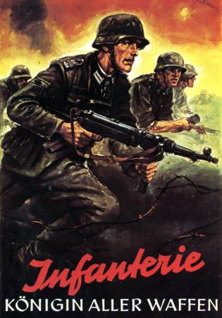 "ND (WWII) * Propagande de Guerre Reproduction ""Germania - Fanteria Regina Delle Battaglie"" dans Passepartout"
