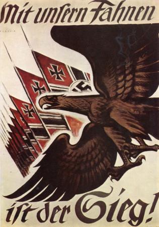 """ND (WWII) * Propagande de Guerre Reproduction """"Germania - La Vittoria Arride Alle Nostre Bandiere!"""" dans Passepartout"""