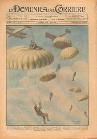 """1929 * Magazine Historique Original """"La Domenica Del Corriere (N°31) - Incidente Aerodromo di Hendon"""""""