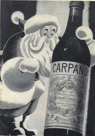 """1949 * Publicité Original """"Carpano - Punt E Mes (Natale)"""" dans Passepartout"""