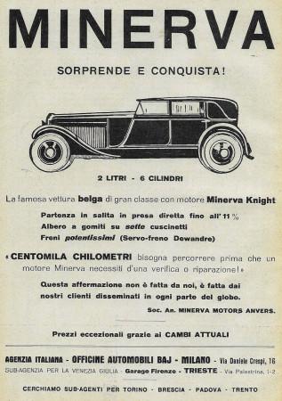 """1928 * Publicité Original """"Minerva - 2 Litri, 6 Cilindri"""" dans Passepartout"""