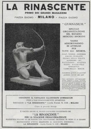 """1929 * Publicité Original """"La Rinascente - Gimnasium, Organizzazione Reparto Articoli Sportivi"""" dans Passepartout"""