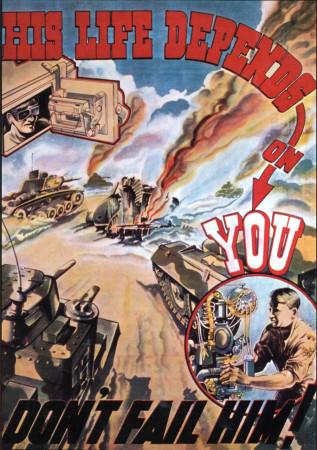 """ND (WWII) * Propagande de Guerre Reproduction """"Gran Bretagna - La Sua Vita Dipende Da Te"""" dans Passepartout"""