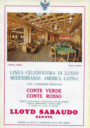 "1931 * Publicité Original ""Lloyd Sabaudo - Grandiosi Piroscafi Conte Verde e Conte Rosso"" dans Passepartout"