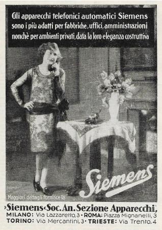 """1928 * Publicité Original """"Siemens - Apparecchi Telefonici Automatici"""" dans Passepartout"""