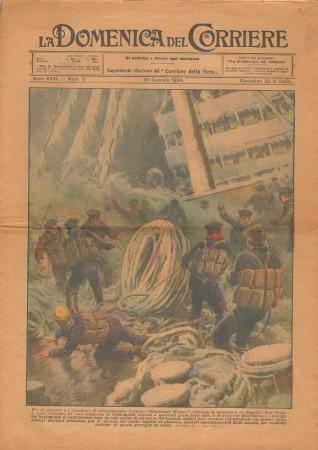 """1924 * La Domenica Del Corriere (N°3) """"Transatlantico Wilson Napoli-New York"""" Magazine Original"""