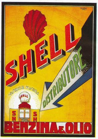 "1928 * Publicité Original ""Shell - Distributore Benzina e Olio - BASSI"" dans Passepartout"