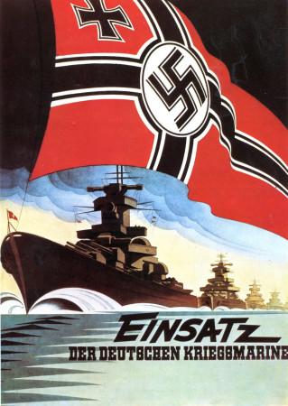 """ND (WWII) * Propagande de Guerre Reproduction """"Germania - Mobilitazione Della Marina Tedesca"""" dans Passepartout"""