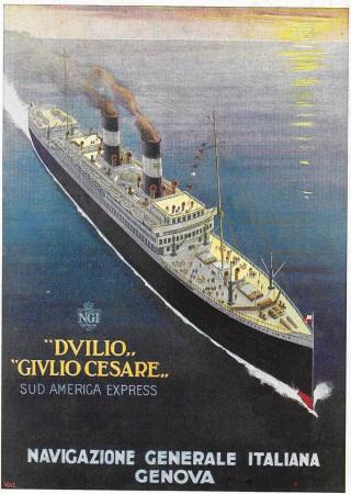 """1929 * Publicité Original """"Navigazione Generale Italiana - Duilio Giulio Cesare"""" dans Passepartout"""