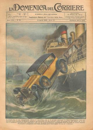 """1929 * Magazine Historique Original """"La Domenica Del Corriere (N°15) - La Tragica Fine di Due Automobilisti"""""""