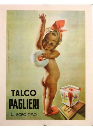 """1960ca * Affiche Original """"Talco Paglieri, Gino Boccasile"""" Zanini e Cellerino (A-) Sur Toile"""