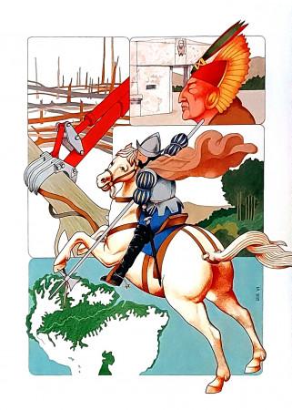 """1990 * Affiche Illustration """"L'Histoire, Sauvegarde de l'Amazonie - Flavio Ghiringhelli"""" (A)"""