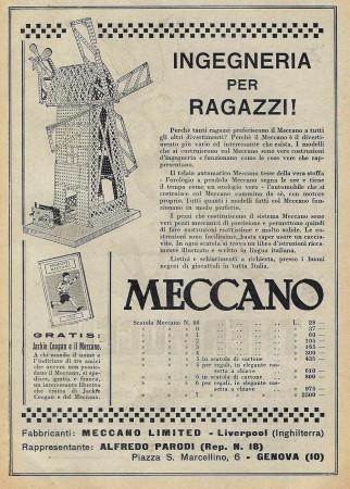 """1929 * Publicité Original """"Meccano - Ingegneria per Ragazzi"""" dans Passepartout"""