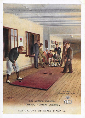 "1930 * Publicité Original ""Navigazione Generale Italiana - Golf - Duilio - STUDIO TESLA"" dans Passepartout"