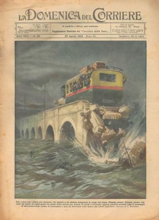 """1929 * Magazine Historique Original """"La Domenica Del Corriere (N°34) - Catastrofe Evitata Per Miracolo"""""""