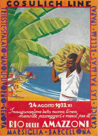 """1933 * Publicité Original Navigation """"Cosulich Line - Fleuve Amazone"""" Couleur dans Passepartout"""