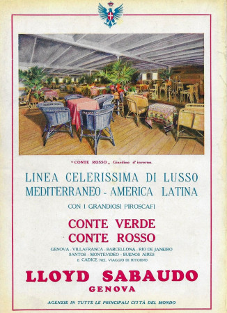 "1929 * Publicité Original ""Lloyd Sabaudo - Conte Rosso, Giardino d'Inverno"" dans Passepartout"