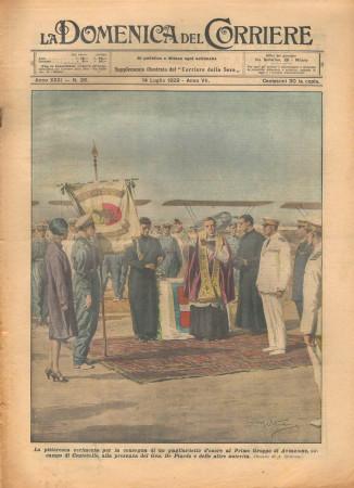 """1929 * Magazine Historique Original """"La Domenica Del Corriere (N°28) - Cerimonia Consegna Gagliardetto d'Onore"""""""