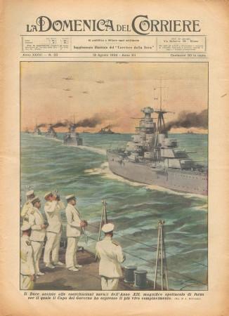 """1934 * La Domenica Del Corriere (N°33) """"DUCE Assiste a Esercitazioni Navali"""" Magazine Original"""