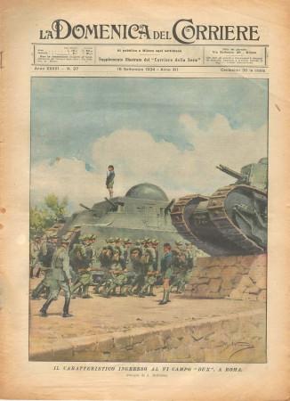 """1934 * La Domenica Del Corriere (N°37) """"Ingresso al VI Campo DUX a Roma"""" Magazine Original"""
