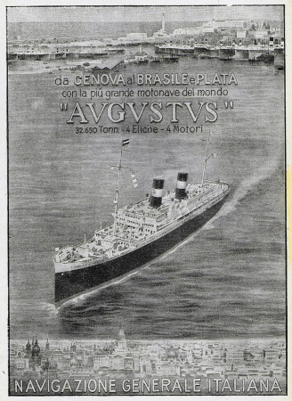 "1928 * Publicité Original ""Navigazione Generale Italiana - Augustus - Da Genova al Brasile e Plata"" dans Passepartout"