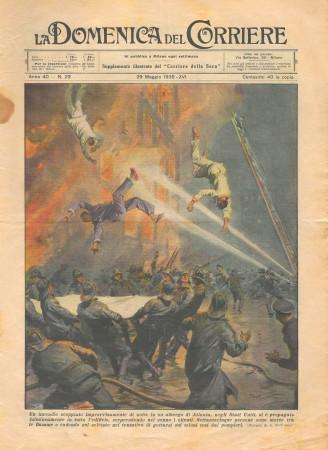 """1938 * La Domenica Del Corriere (N°22) """"Incendio ad ATLANTA - Motociclista Novara-Vercelli"""" Magazine Original"""