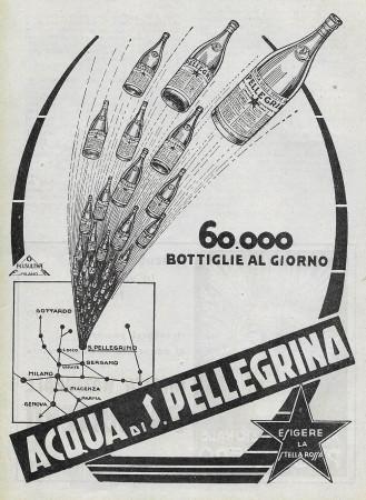 """1929 * Publicité Original """"Acqua S.Pellegrino - 60.000 Bottiglie Al Giorno - PLUSULTRA"""" dans Passepartout"""