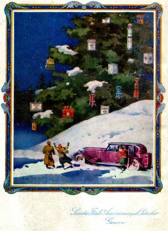 "1930 * Publicité Original ""Società Italo Americana Petrolio - Natale - RAIMONDI"" dans Passepartout"