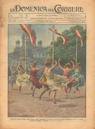 """1929 * Magazine Historique Original """"La Domenica Del Corriere (N°25) - Tersicore Nella Strada"""""""