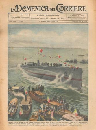 """1929 * Magazine Historique Original """"La Domenica Del Corriere (N°18) - Varo Taranto Sommergibile Marina"""""""