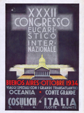 "1934 * Publicité Original ""Italia Flotte Riunite - XXXII Congresso Eucaristico Internazionale"" dans Passepartout"