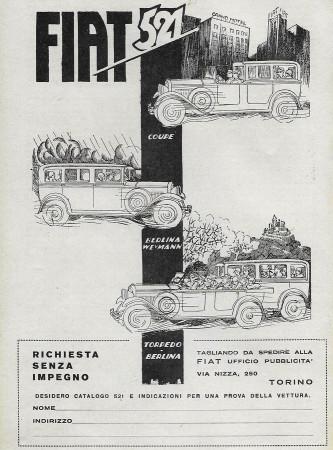 """1929 * Publicité Original """"Fiat - 521"""" dans Passepartout"""