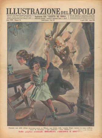 """1943 * Illustrazione del Popolo (N°14) – """"Incursioni Aeree su Milano"""" Magazine Original"""