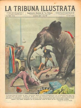 "1935 * Magazine Historique Original ""La Tribuna Illustrata (N°6) - Incidente Elefante Circo di Londra"""