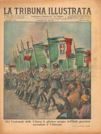 """1938 * La Tribuna Illustrata (N°46) – """"Ventennale della Vittoria ascesa al Vittoriano"""" Magazine Original"""