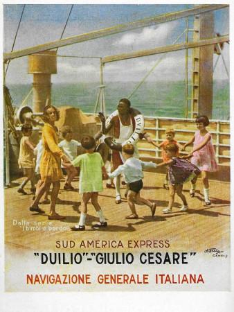 """1929 * Publicité Original """"Navigazione Generale Italiana - I Bimbi a Bordo"""" dans Passepartout"""