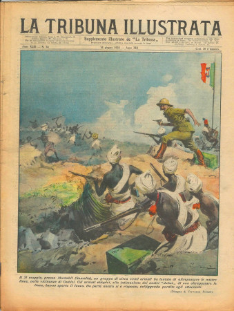 "1935 * Magazine Historique Original ""La Tribuna Illustrata (N°24) - Gruppo Etiopici Tenta di Oltrepassare Linea Confine"""