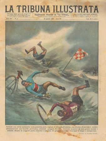 """1937 * Magazine Historique Original """"La Tribuna Illustrata (N°4) - Incidente Corsa Campestre Ciclo-Podistica"""""""