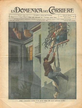 """1909 * La Domenica Del Corriere (N°36) """"Evasione a Nizza - Aviazione a Reims"""" Magazine Original"""