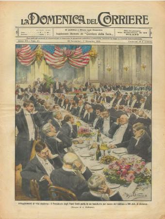 """1913 * La Domenica Del Corriere (N°48) """"Presidente degli Stati Uniti al Telefono"""" Magazine Original"""