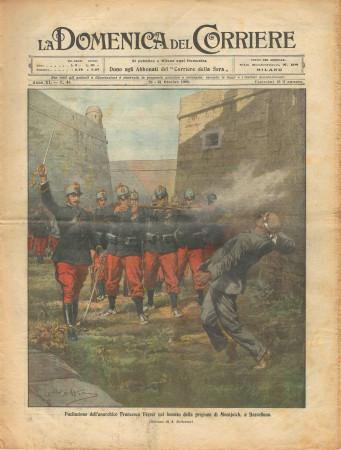 """1909 * La Domenica Del Corriere (N°43) """"Fucilazione di Ferrer - Italiani a Benadir"""" Magazine Original"""
