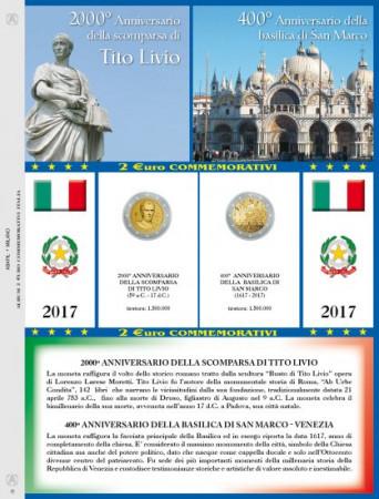 """2017 Feuille + Pochette 2 Euro Commémorative ITALIE 2017 """"Tito Livio – San Marco"""" * ABAFIL"""